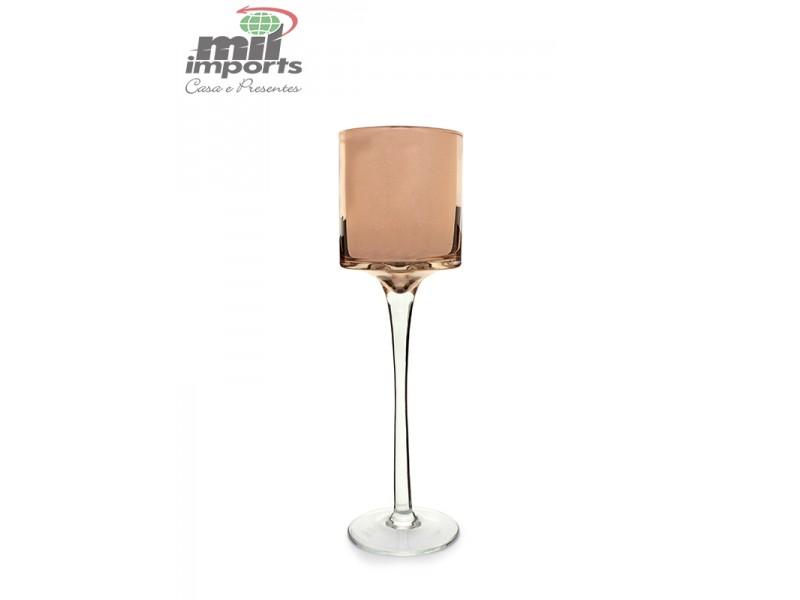 Castiçal de Vidro Bronze G (30 CM)