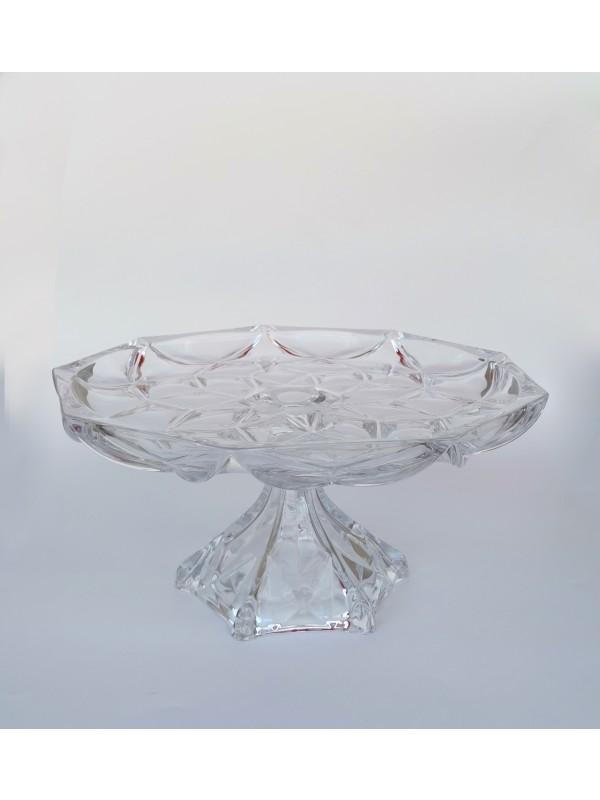 Prato grande com pé decor de vidro